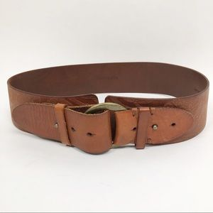 LINEA PELLE Embossed Oversized Leather Wide Belt
